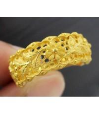 แหวน PRIMA GOLD ทอง24K ฉลุลาย ดอกไม้ ครึ่งวง งานสวยมาก นน. 6.37 g