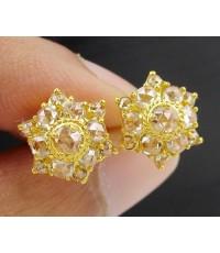 ต่างหู เพชรซีกลูกโลก กระจุกดอกพิกุล ทอง90 งานเก่า สวยมาก นน. 3.78 g