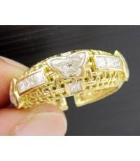 แหวน เพชรรูปผีเสื้อ 3/ 0.90 ct ฝังเพชร Princess 8/0.48 ct ฉลุลาย ทอง18K งานดีไซน์สวยมาก นน. 5.65 g