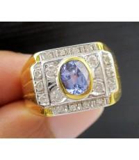 แหวน ไพลิน ซีลอน ฝังเพชร 18 เม็ด 0.22 กะรัต ทอง90 งานสวยมาก นน. 9.25 g