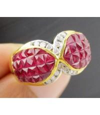 แหวน ทับทิม Princess ฝังเพชร 14 เม็ด 0.16 กะรัต ทอง18K งานสวย น่ารักมาก นน. 7.54 g