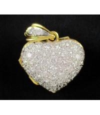 จี้ เพชรหัวใจ ฉลุลาย 48 เม็ด 1.90 กะรัต ทอง90 งานสวย น่ารักมาก นน. 6.37 g