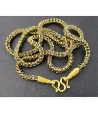 สร้อยคอ ไพลิน เจียร ลายกระดูกงู รอบเส้น ทอง18K งานสวยมาก นน. 38.24 g
