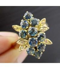 แหวน ไพลิน เจียร กระจุก ฝังเพชรกุหลาบ 6 เม็ด 0.06 กะรัต ทอง9K งานสวย น่ารักมาก นน. 4.89 g