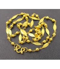 สร้อยคอ ทอง100 ลายมาคีย์ เม็ดกลม ทองเก่า งานโบราณ หายาก นน. 3.82 g