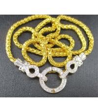 สร้อยคอ ทอง100 ลายเกล็ดมังกร + ไหหลำ ห่วงเพชร 60 เม็ด 0.52 กะรัต ทอง90 งานสวยมาก นน. 24.80 g