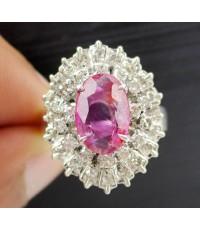 แหวน ทับทิม พม่า ล้อมเพชรกุหลาบ 2 ชั้น 36 เม็ด 0.50 กะรัต งานทองขาวโบราณ(ปาหะ) พร้อมCert. นน. 5.44 g