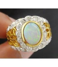 แหวน โอปอล หลังเบี้ย ฉลุลาย ล้อมเพชร 34 เม็ด 0.50 กะรัต ทอง90 งานเก่า หลุดจำนำ สวยมาก นน. 10.65 g