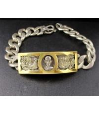 เลสเงิน หลวงพ่อรวย รุ่น รวย ๘๙ ไตรมาส วัดตะโก ปี ๒๕๕๗ ไตรมาส ตอกโค้ด ๔๔๗ เลี่ยมทองเก่า นน. 39.36 g