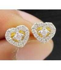 ต่างหู เพชร รูปหัวใจ เพชร 26 เม็ด 0.16 กะรัต ทอง18K งานสวย น่ารักมาก นน. 1.75 g