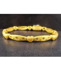 สร้อยข้อมือ Prima Gold ทอง24K ฉลุลาย หัวใจ คั่นหัวใจ รอบเส้น งานสวย น่ารักมาก นน. 15.79 g