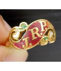 แหวน ทองลงยา ฉลุลาย J.R.P. ทอง90 งานเก่า หลุดจำนำ นน. 4.53 g