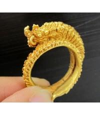 แหวน พญานาค แกะลาย รอบวง ทอง90 แบบงานโบราณ สวยมาก นน. 20.74 g