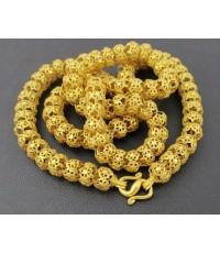 สร้อยคอ ทอง100 ฉลุลาย ตะกร้อ รอบเส้น ทองเก่า งานโบราณ สวยมาก นน. 47.16 g
