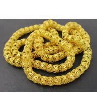 สร้อยคอ ทอง100 ฉลุลาย ตะกร้อ รอบเส้น ทองเก่า งานโบราณ สวยมาก นน. 92.32 g