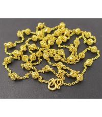 สร้อยคอ ทอง100 ฉลุลาย ตะกร้อ รอบเส้น ทองเก่า งานโบราณ สวยมาก นน. 16.21 g