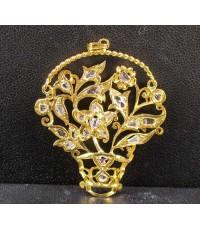 จี้ ตะกร้า ดอกไม้ ฉลุลาย ฝังเพชรซีก ทอง90 หลุดจำนำ งานสวยมาก นน. 8.08 g