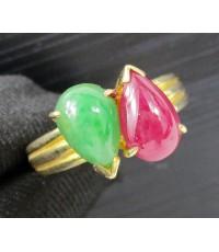แหวน ทับทิม หยก พม่า ทรงหยดน้ำ ไขว้ ทอง90 งานเก่า หลุดจำนำ สวยมาก นน. 7.38 g