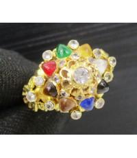 แหวน นพเก้า ทรงฉัตร ฝังพลอยขาว ทอง90 หลุดจำนำ งานสวยมาก นน. 4.38 g