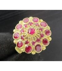 แหวน ทับทิม เจียร กระจุกทรงพุ่ม ทอง90 งานเก่า หลุดจำนำ สวยมาก นน. 5.16 g