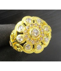 แหวน เพชรซีกลูกโลก ฉลุลาย ดอกไม้ ทอง90 งานเก่า หลุดจำนำ สวยมาก นน. 9.10 g