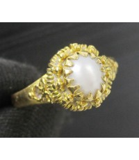 แหวน มุก ทรงจั่นมะพร้าว ทอง90 แบบงานโบราณ สวยมาก นน. 3.62 g
