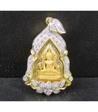 พระพุทธชินราช เนื้อทองคำ กรอบทอง ฝังเพชร 40 เม็ด 0.60 กะรัต นน. 8.81 g