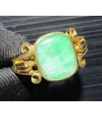 แหวน หยก หลังเบี้ย ฉลุลาย ทอง90 งานเก่า หลุดจำนำ สวยมาก นน. 4.53 g