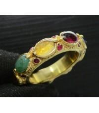 แหวน พิรอด นพเก้า ฝังทับทิม รอบวง ทอง90 งานโบราณ สวยมาก Size 51 นน. 8.68 g