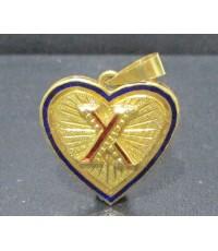 จี้ หัวใจ อักษร X ลงยา ตัดลาย ทอง90 งานสวย น่ารักมาก นน. 3.68 g