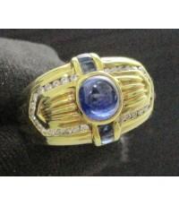 แหวน ไพลิน หลังเบี้ย ฝังเพชรเกสร 30 เม็ด 0.20 กะรัต ทอง18K งานเก่า หลุดจำนำ สวยมาก นน. 7.85 g