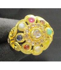 แหวน นพเก้า ยอดเพชรซีกลูกโลก ฉลุลาย ทอง90 แบบงานโบราณ สวยมาก นน. 8.51 g