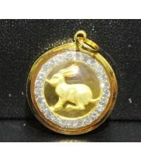 จี้ กระต่าย ปีเถาะ ล้อมพลอยขาว เลี่ยมทอง18K งานสวย น่ารักมาก นน. 2.24 g