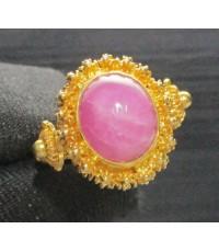 แหวน ทับทิม หลังเบี้ย ทรงจั่นมะพร้าว ทอง95 งานเก่า ทองโบราณ สวยมาก นน. 8.28 g