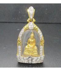 พระหลวงพ่อโสธร เนื้อทองคำ กรอบทอง ฝังเพชร 36 เม็ด 0.40 กะรัต นน. 11.80 g