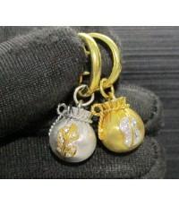 ต่างหู ถุงเงิน ถุงทอง ตุ้งติ้ง ฝังเพชร 16 เม็ด 0.08 กะรัต ทอง90 งานสวย น่ารักมาก นน. 9.24 g