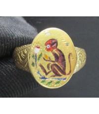 แหวน ทองลงยา ลิง ปีวอก + นกคู่ ทอง90 พลิกได้ งานเก่า หลุดจำนำ นน. 7.97 g