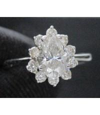 แหวน เพชรหยดน้ำ 0.66 กะรัต ล้อมเพชร 10 เม็ด 0.30 กะรัต ทอง18Kขาว งานสวยมาก นน. 2.36 g