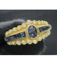 รหัสสินค้า: 48408 แหวน ไพลิน เจียร ฝังเพชรเกสร 22 เม็ด 0.22 กะรัต ทอง14K งานเก่า หลุดจำนำ นน. 3.25 g