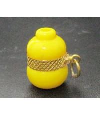 จี้ น้ำเต้า ดูดทรัพย์ หลวงพ่อสด วัดปากน้ำ สีเหลือง เลี่ยมทอง ความหมายดี น่าเก็บสะสม นน. 1.84 g