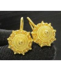 ต่างหู กระดุม ดอกบัว สัตตบงกช ทอง99.99 ตะขอเบ็ด ทองเก่า งานโบราณ สวยมาก นน. 10.06 g