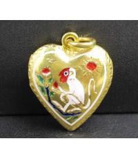 จี้ ตลับหัวใจ ทองลงยา ลิง ปีวอก เป็ดแมนดาริน เปิดได้ ทอง90 งานเก่า สวยน่าสะสม นน. 6.86 g