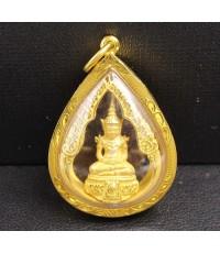 พระแก้วมรกต ทรงหยดน้ำ เนื้อทองคำ รัชกาลที่9 ครบ 75 พรรษา ปี 2545 เลี่ยมทองเก่า นน. 14.70 g