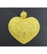 จี้ ตาบ ทรงหัวใจ ตอกลาย ดอกไม้ ทอง99.99 งานทองโบราณ สวยมาก นน. 15.22 g