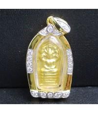 พระนาคปรกใบมะขาม เนื้อทองคำ กรอบทอง ฝังเพชร 18 เม็ด 0.18 กะรัต นน. 5.22 g