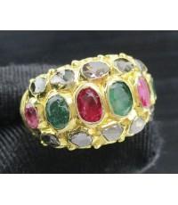 แหวน 3 สี ทับทิม มรกต ฝังเพชรซีกทอง90 งานเก่า สวยมาก นน. 12.37 g