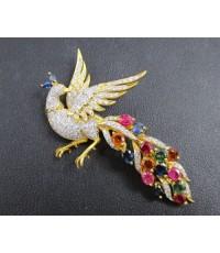 จี้ + เข็มกลัด นกยูง พลอยหลากสี ฝังเพชร 140 เม็ด 1.75 กะรัต ทอง90 งานสวยมาก นน. 10.24 g