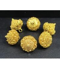 กระดุม ดอกบัว สัตตบงกช 6 เม็ด ทอง100 ทองเก่า งานโบราณ สวยมาก นน. 17.17 g
