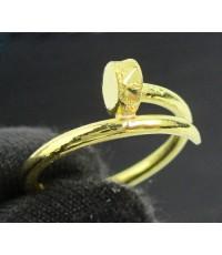 แหวน ตะปู ตัดลาย ทอง96.5 งานดีไซน์สวย size 50 นน. 1.90 g