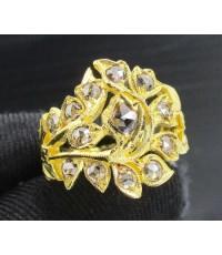 แหวน เพชรซีกลูกโลก ฉลุลาย ดอกไม้ ทอง90 งานเก่า หลุดจำนำ สวยมาก นน. 7.76 g